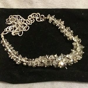 xxx Jewelry - NWOT bib grey glass crystal necklace